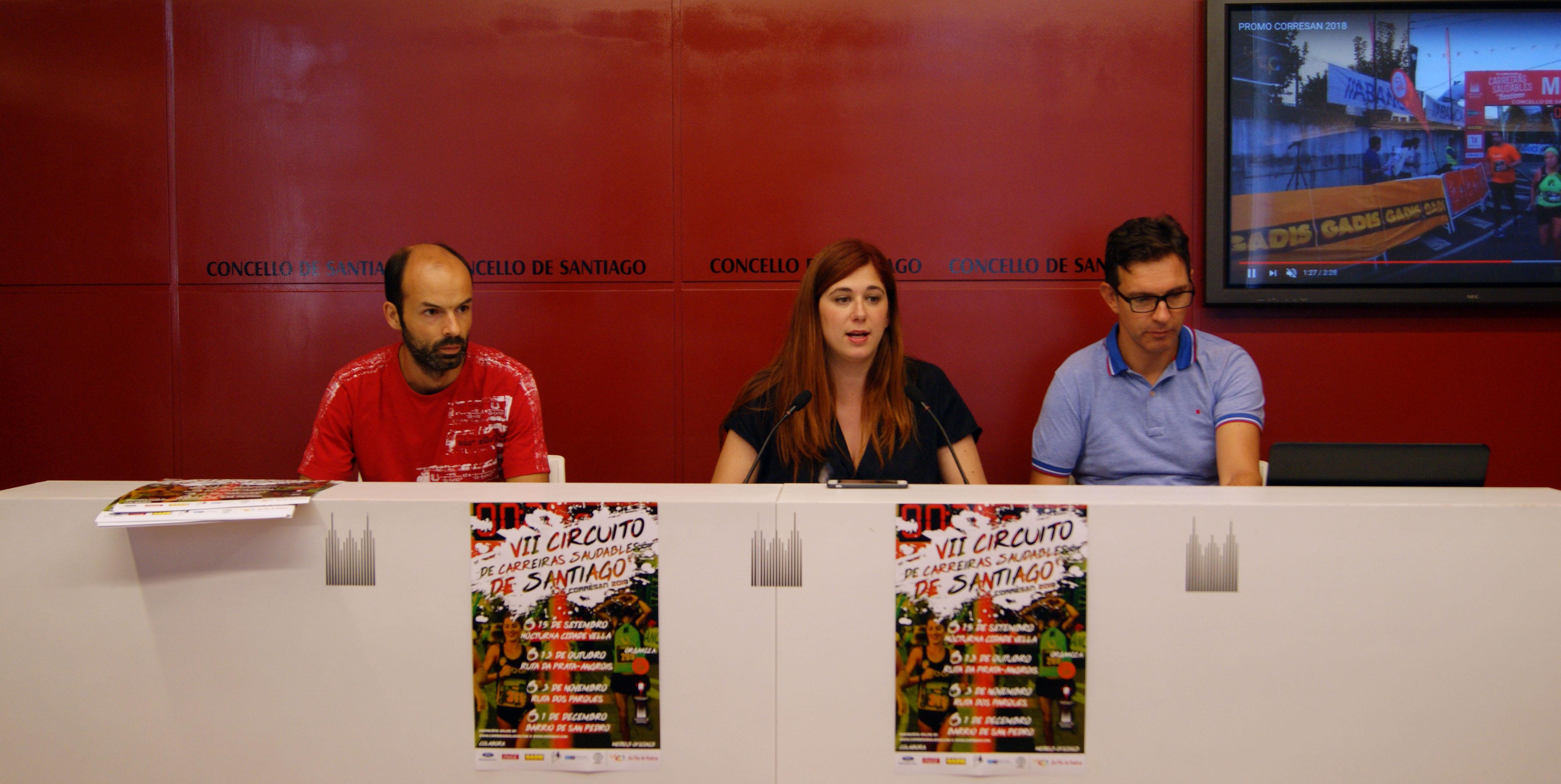 Amador Pena, Noa Morales e Iván Sanmartín presentaron a proba.