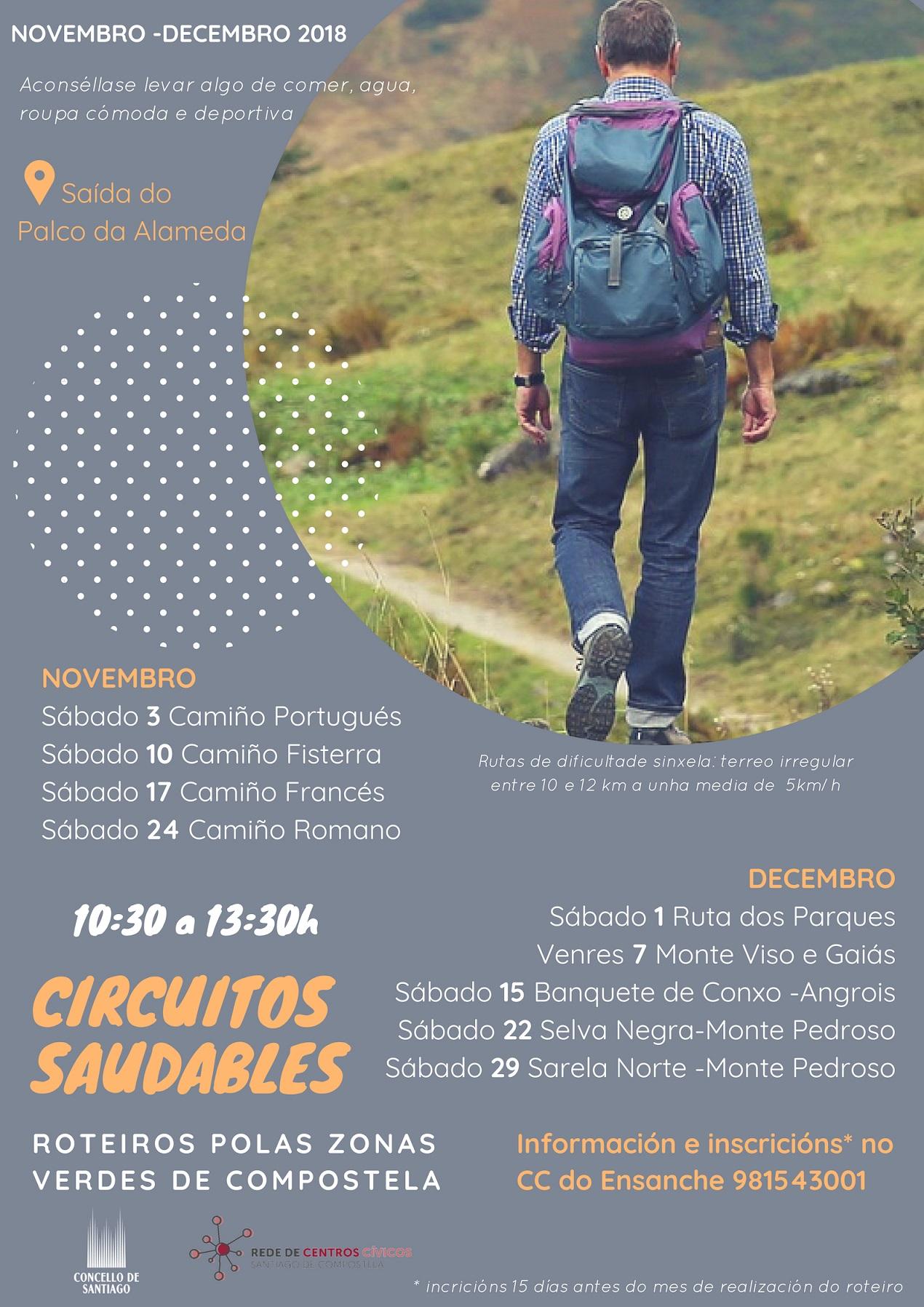 """Cartel co calendario completo dos """"Circuítos Saudables""""."""