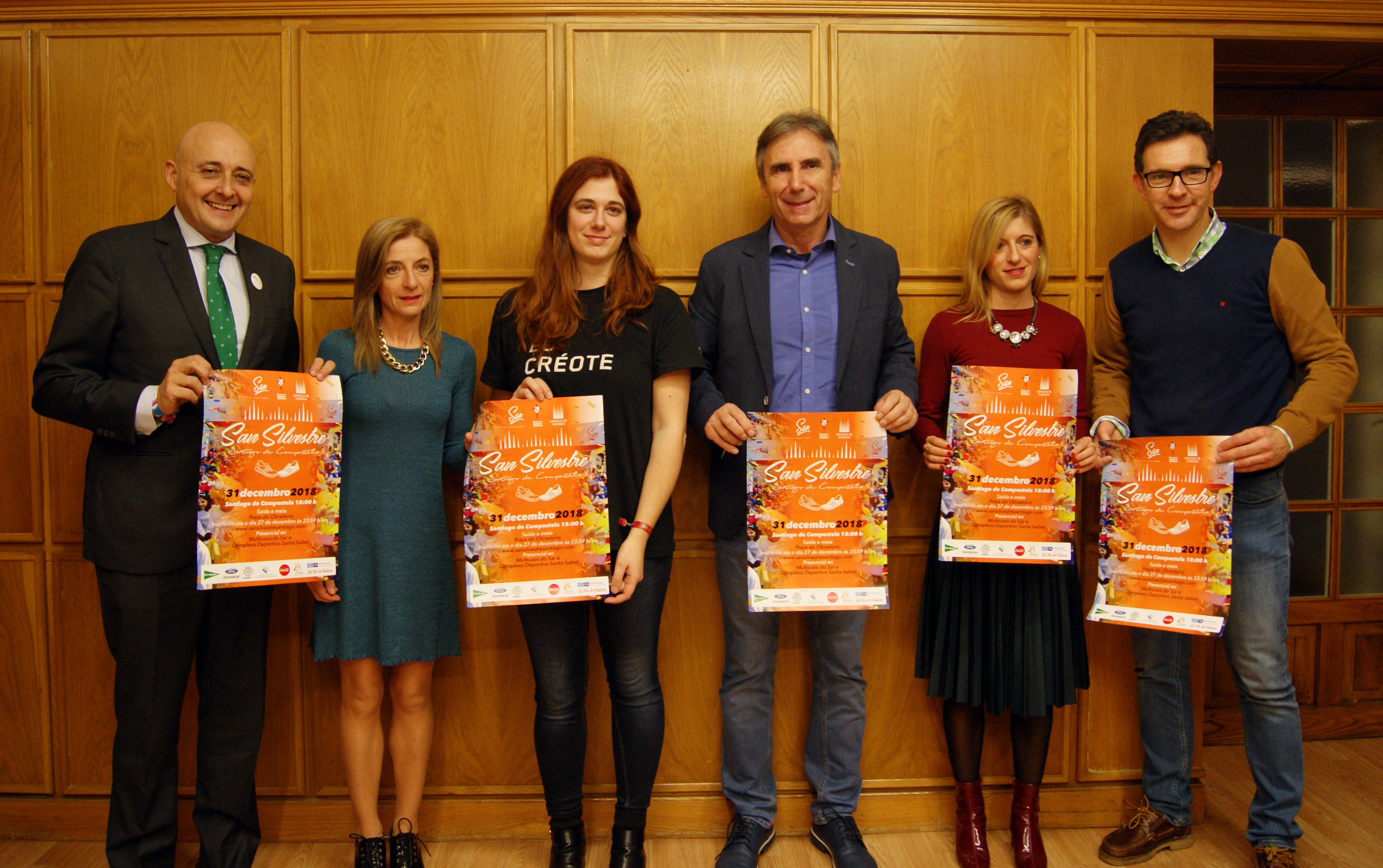 Pati Blanco, Esther Pedrosa, Noa Morales, Isidoro Hornillos, Raquel Suárez e Iván Sanmartín cos carteis da carreira.