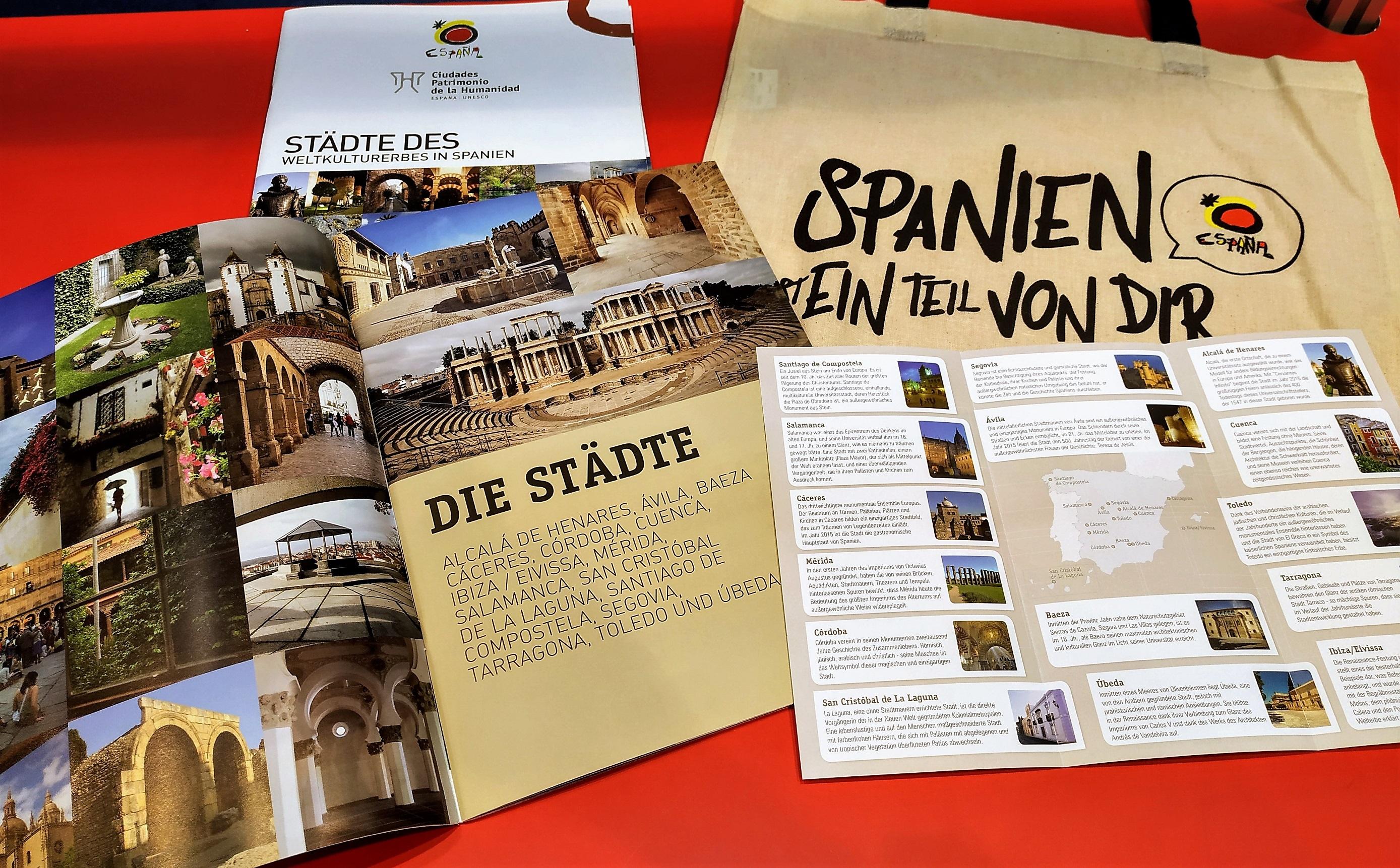 Material promocional mostrado na feira alemá.