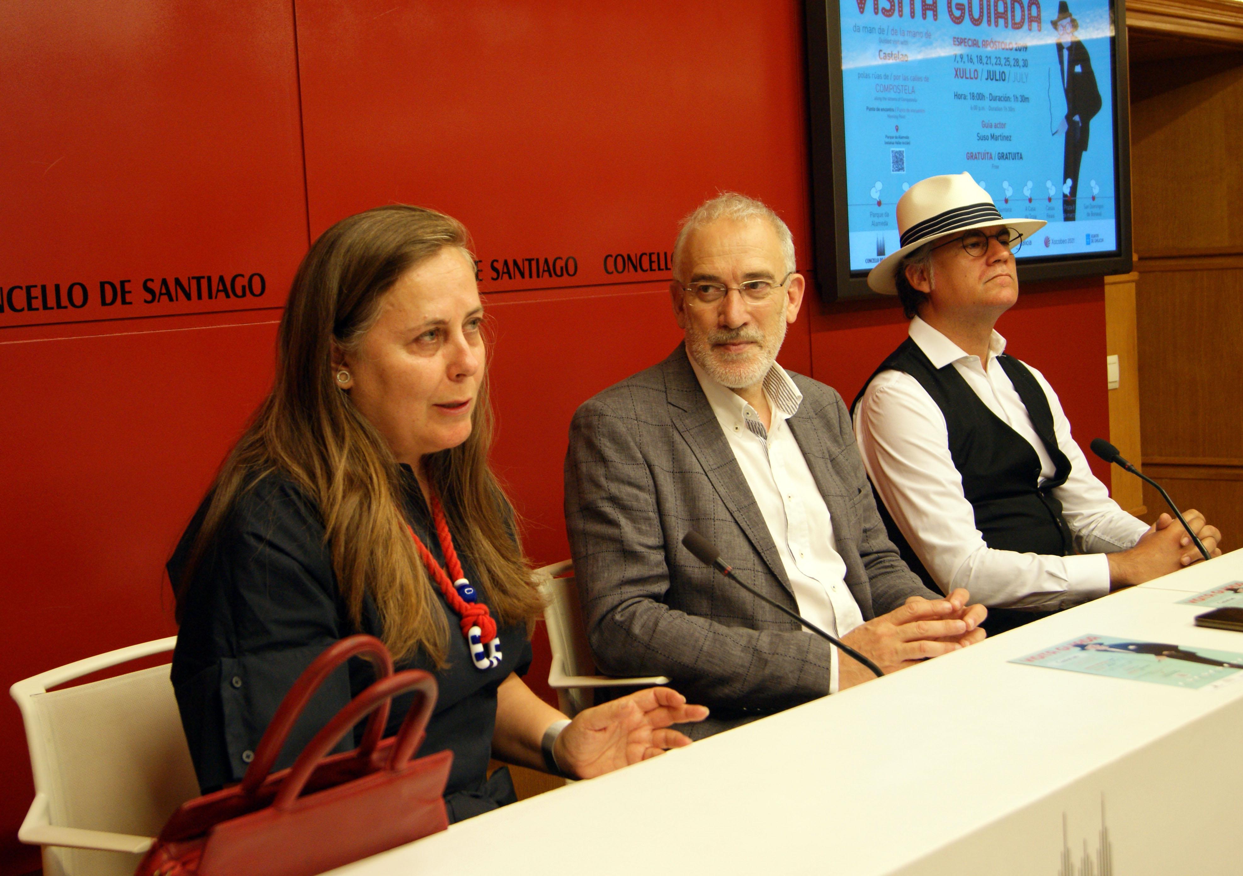 Flavia Ramil, Sindo Guinarte e Suso Martínez durante a rolda de prensa.