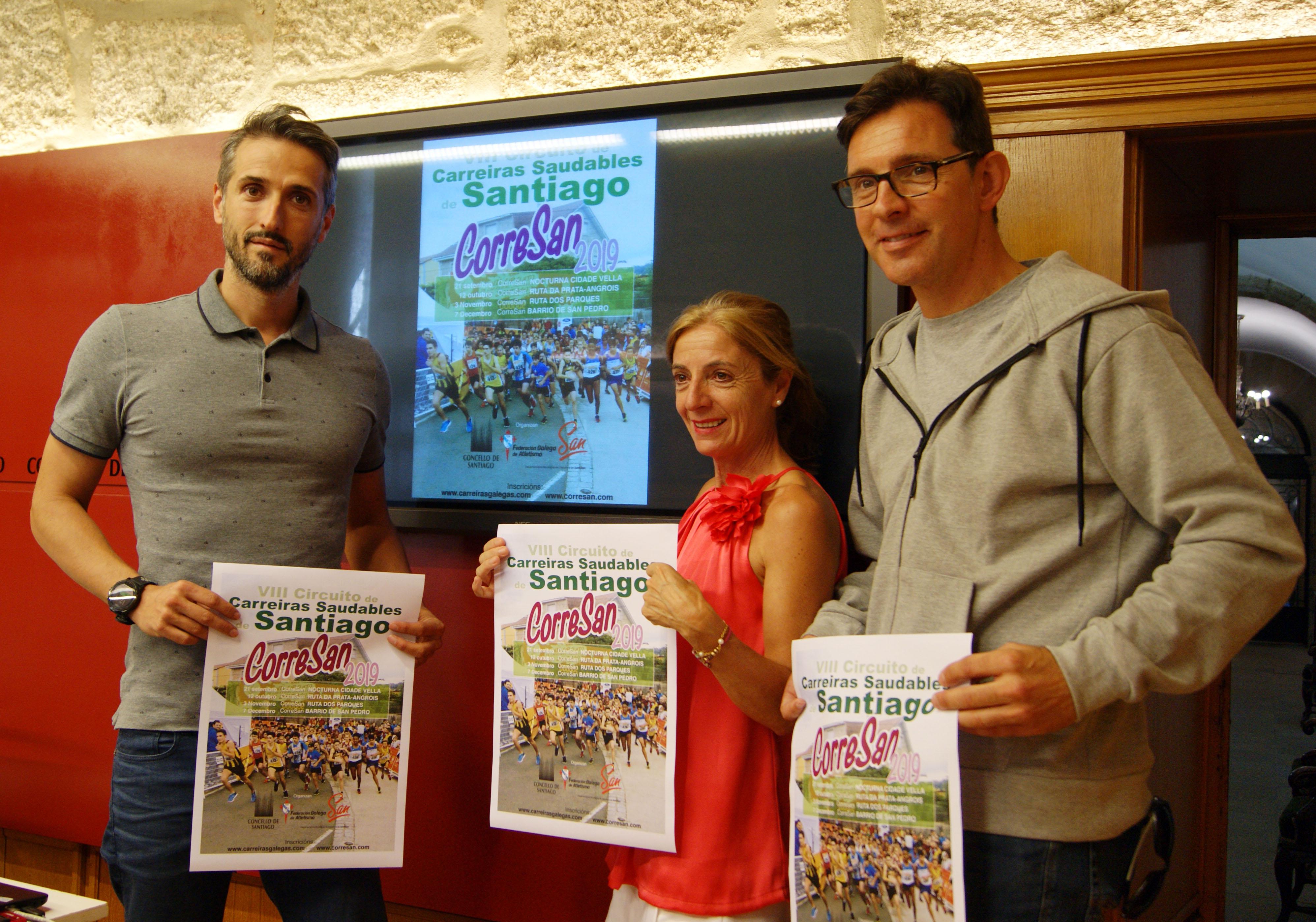Carlos Castro, Esther Pedrosa e Iván Sanmartín presentaron o CorreSan.