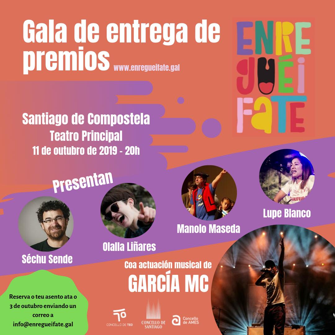 """Cartel da gala """"Enreguéifate"""", que se celebrará o 11 de outubro."""