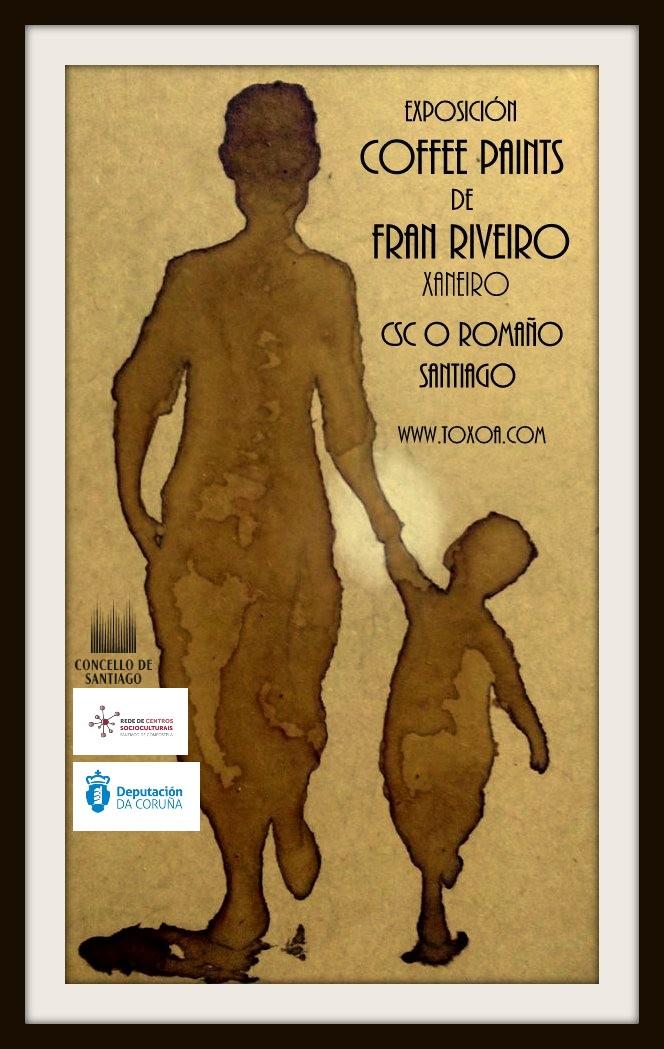 """Cartel de """"Coffee paints"""", exposición no CSC do Romaño."""